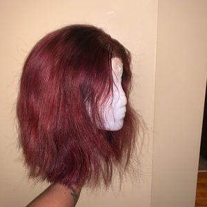 Red short bob Brazilian wig